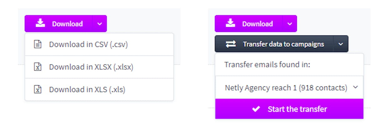 Download results in different formats or transfer lead data to campaigns