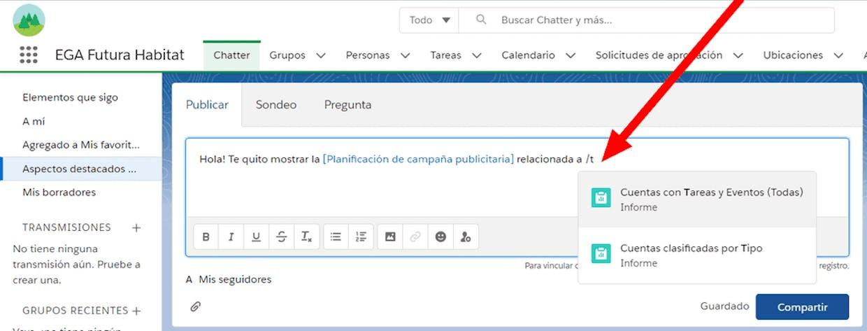 Es posible vincular un registro en un comentario de chatter mediante el botón colaborar dentro de un informe?