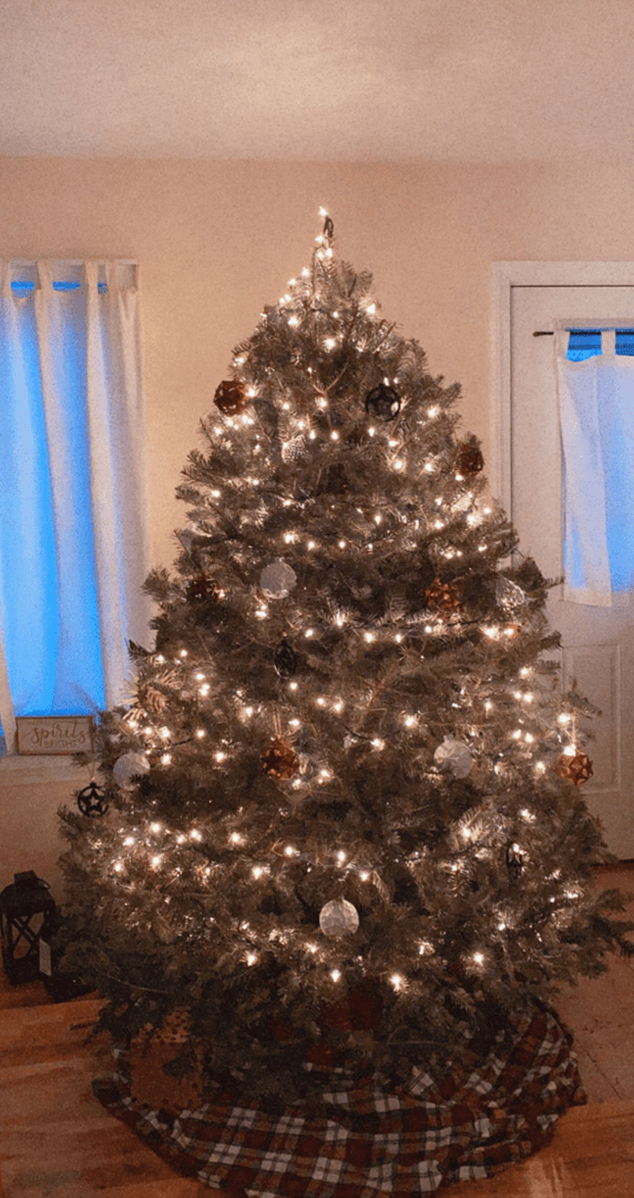 I normally spend a while picking out my tree and usually get a pretty perfect and even one. This year I think a lot of people decorated early to boost their cheer this year lol, so there wasn't much left at the farm when I went but this tree is a perfect 2020 tree. Its got some gaps and is a little warped and messy, but i kind of love it anyway. If It was perfect it wouldn't be right this year haha!