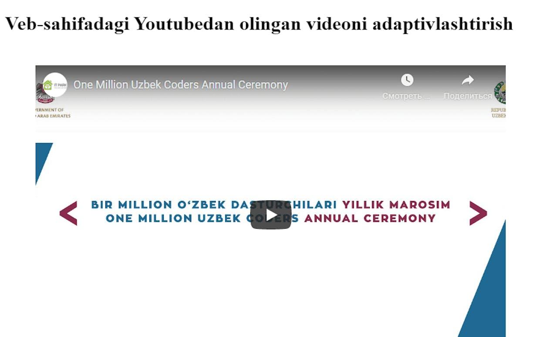 Youtube video joylashtirilgan veb-sahifa