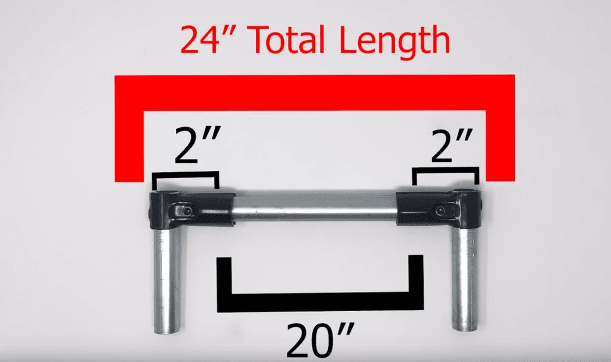 """I have seen the spec sheets but they don't directly answer my question.   If I want to, say, build a box with a final width of say 24"""" using corner brackets....how long would I measure the inner tubes for the outer dimension to be 24""""?  The same question would go for the different connectors ...........is there a cheat sheet for this?"""