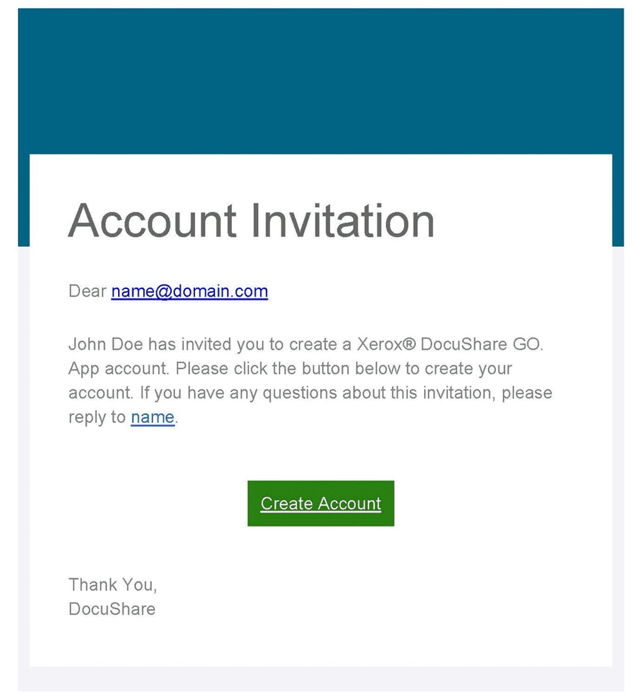 Email Notification: Account Invitation