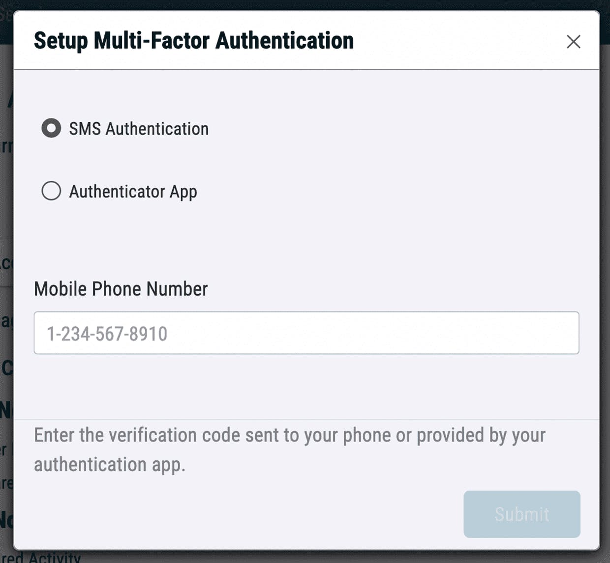 Select your authentication method.