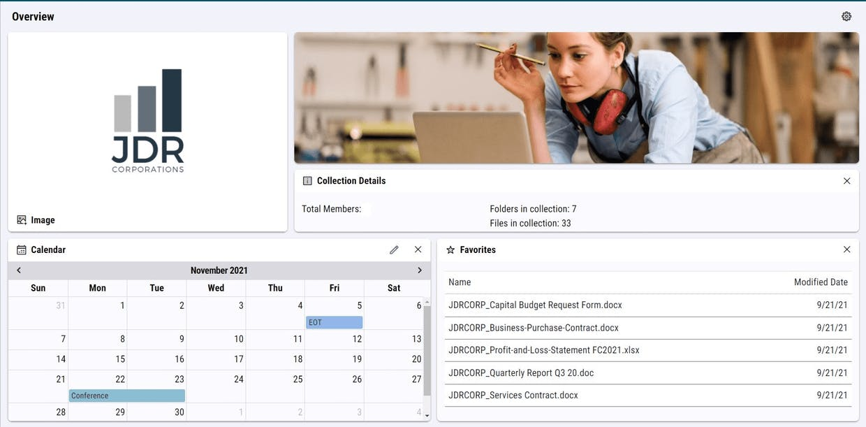 Example: View of 2 Image Widgets collection overview