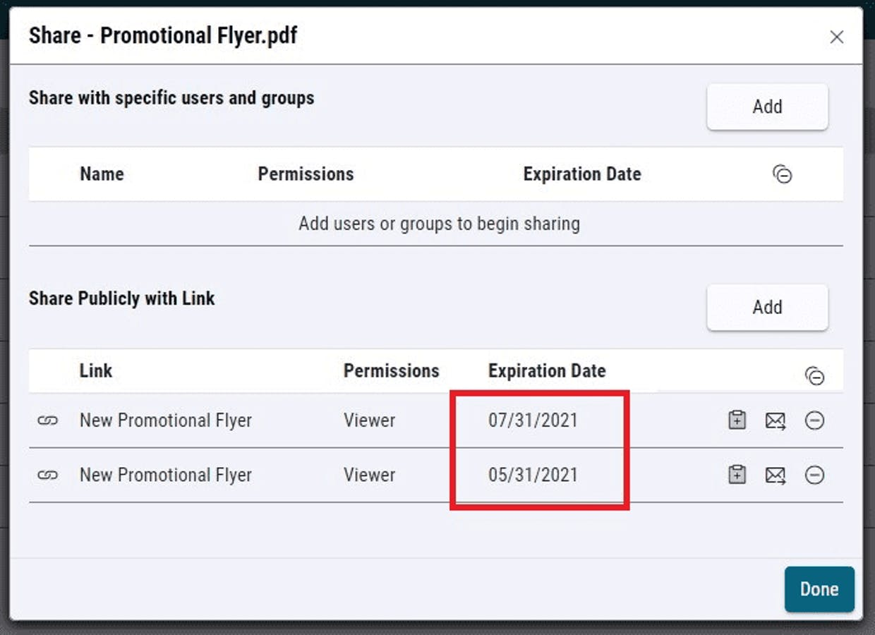 Multiple expiration dates can be set and assigned different links
