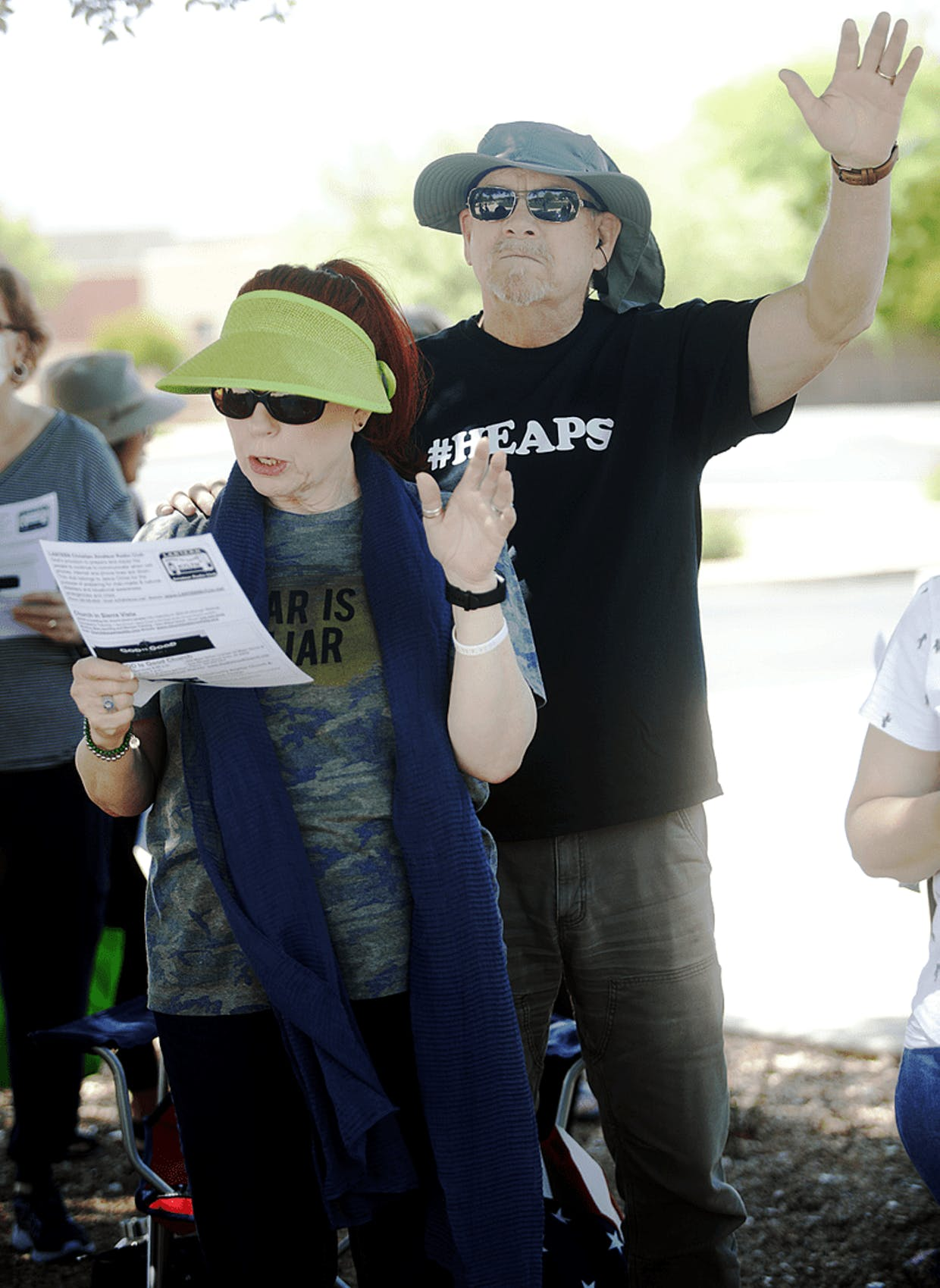 Lesa and Stuart Thompson attend last week's annual National Day of Prayer gathering in front of the Sierra Vista City Hall.