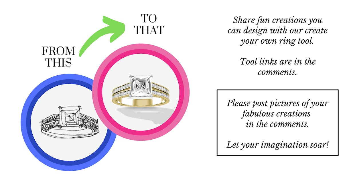 From a drawing to an actual yellow gold ring, the create your own ring tool offers fun creations.