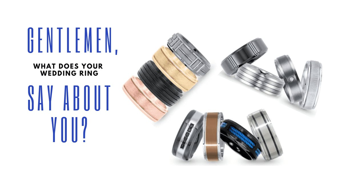 Men's wedding rings of different styles are displayed.