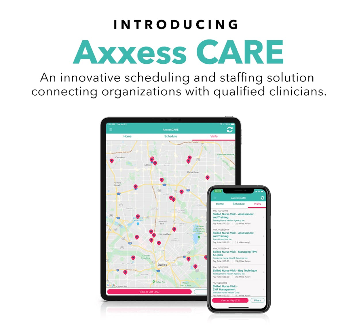 Axxess CARE, a staffing and scheduling solution, is now available nationwide to all Axxess Home Health clients.