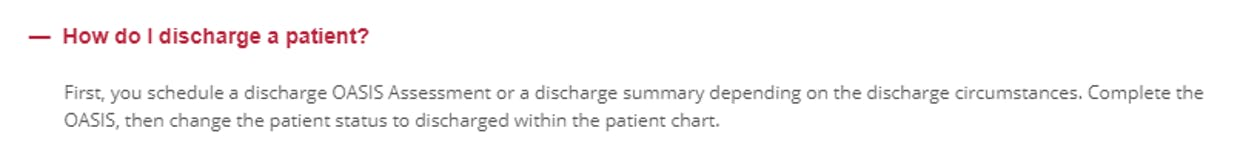 Is there anything in writing how a Clinician is to Discharge a Patient in AXXESS?