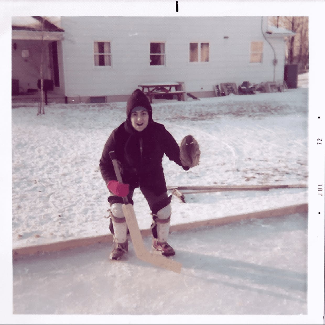 Looking back...to the winter of 1972 and the hockey rink my Dad built in our backyard. I couldn't skate so I was the designated goalie. As an All-County softball catcher and occasional first baseman, I had all the equipment I needed. The goalie stick belonged to us all. (Mom made me take off the chest protector and mask for the picture). I was the worst goalie in the history of hockey. Every shot on goal was a goal. Hockey in WNY was a religion. Watch the Buffalo Sabres a couple nights a week and Hockey Night in Canada other nights. PS NHL teams belong only in cities where you can ice skate in your backyard.