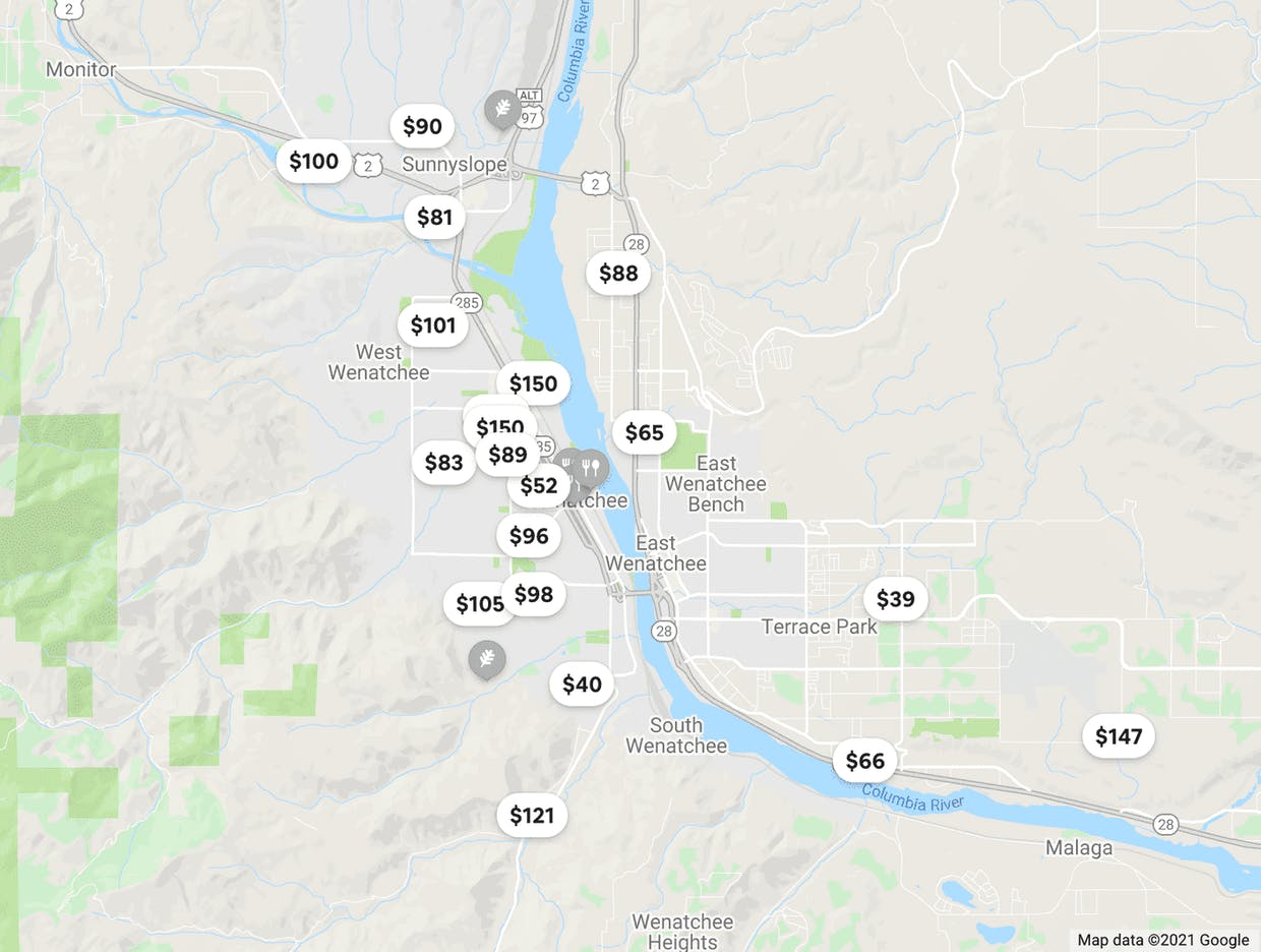 Airbnb listings, 06/14/2021. This is not a comprehensive map of short-term rental listings in Wenatchee.