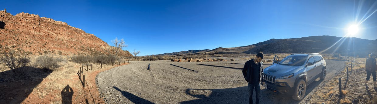 Panoramic from the campsite. Camped at the base of a butte. Still a bit chilly the first night - got down to 21 degrees.