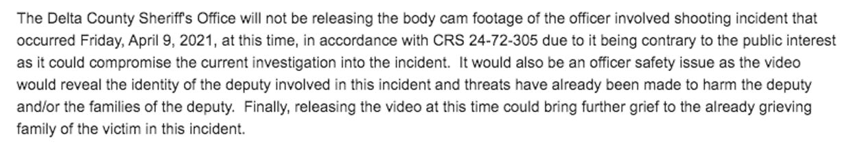 A screenshot of an email sent to the Daily Press in response to a request for body cam footage.