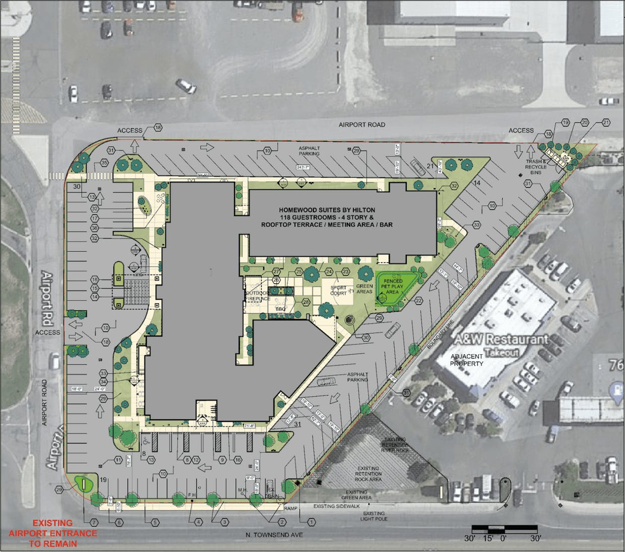 This overall site plan depicts the layout of the Homewood Suites by Hilton and surrounding parking area planned for 100 Airport Road.