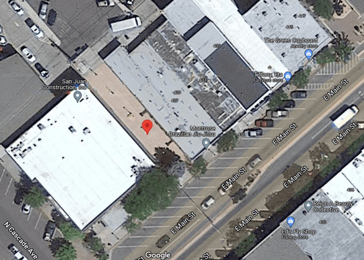 The pocket park would be renovated later next year, if the grant application is approved. The red pin marker shows the location of the park.