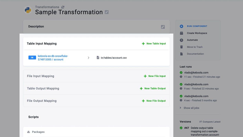 Configuration detail (Python Transformation)
