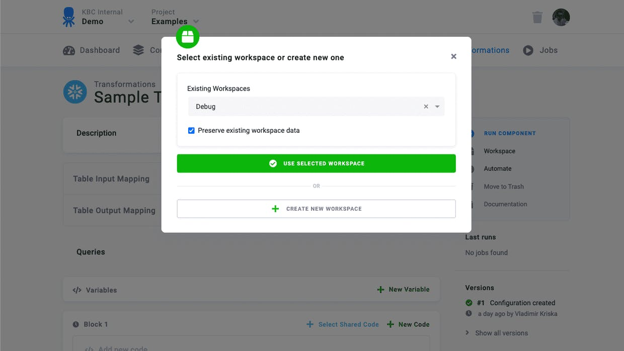 Option to select an existing workspace