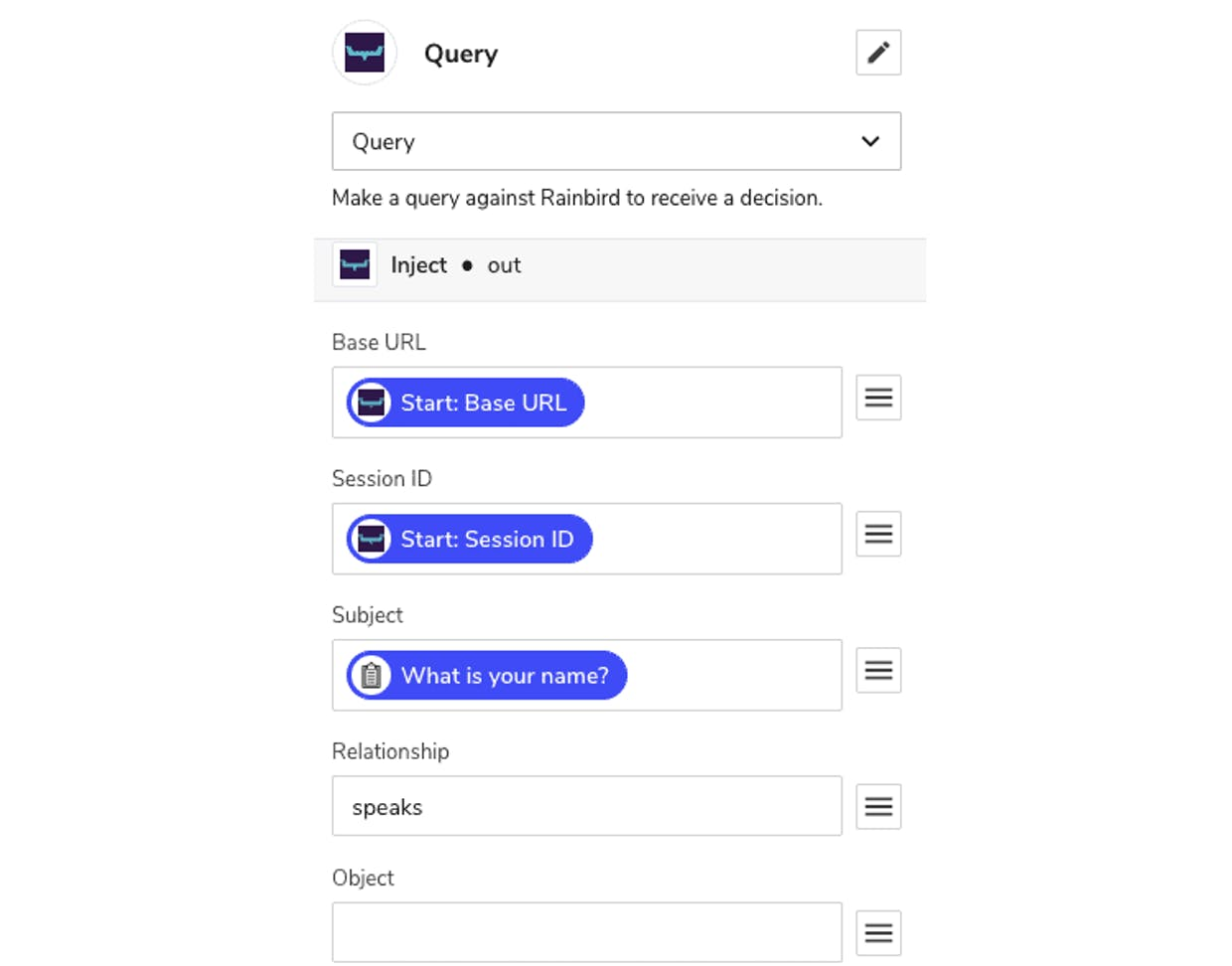 Query component with details filled in