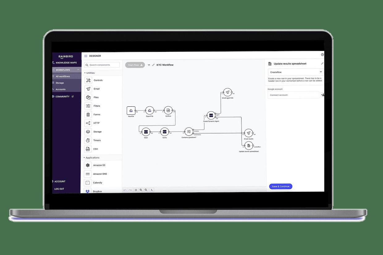 Rainbird V4's drag-and-drop workflow builder