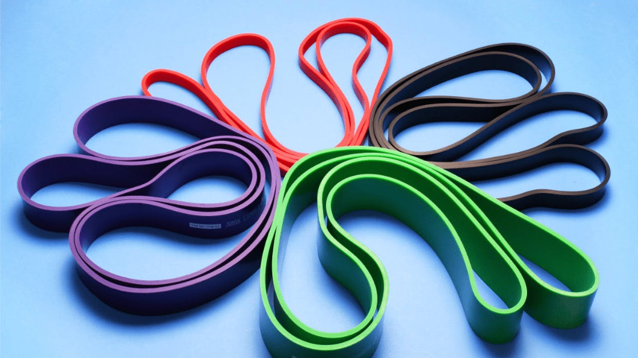 Bands are great for pushing, pulling and leg exercise and can be attached to most objects.
