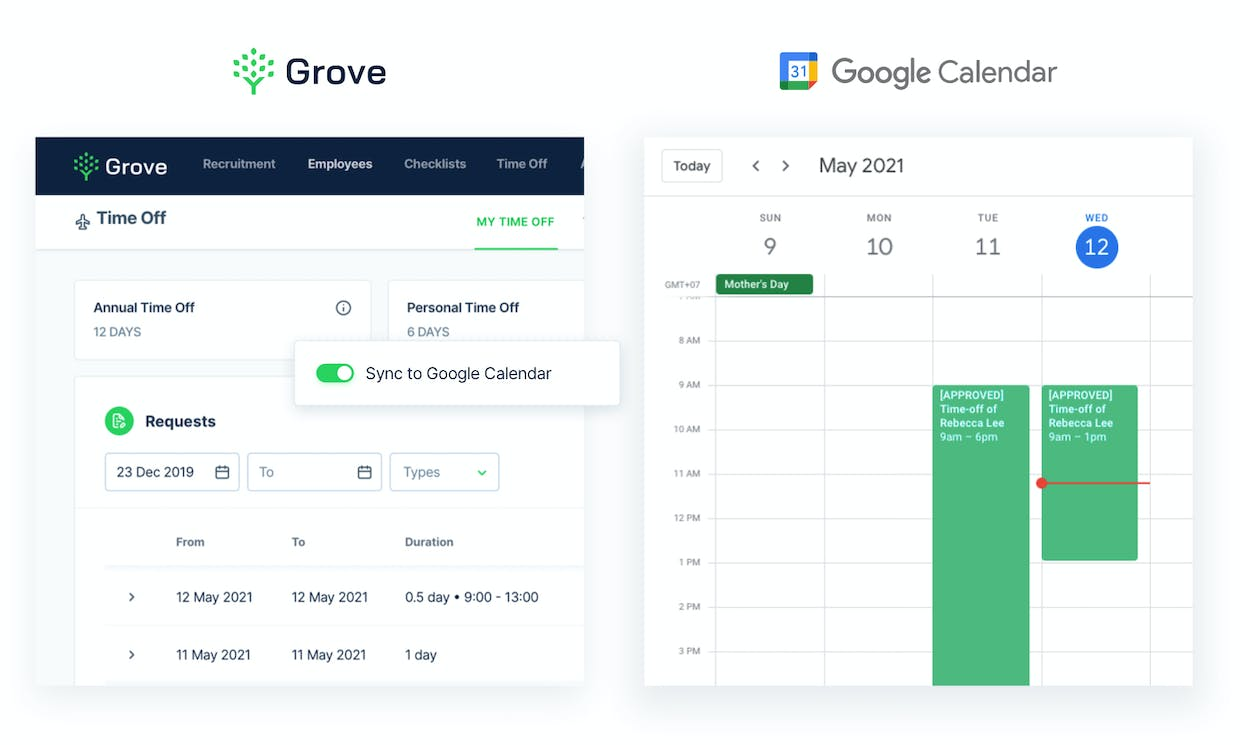 Know when your team members take leaves right on Google Calendar