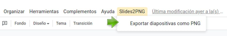 Menú personalizado visible en la interfaz del editor de presentaciones y listo para recibir tus órdenes
