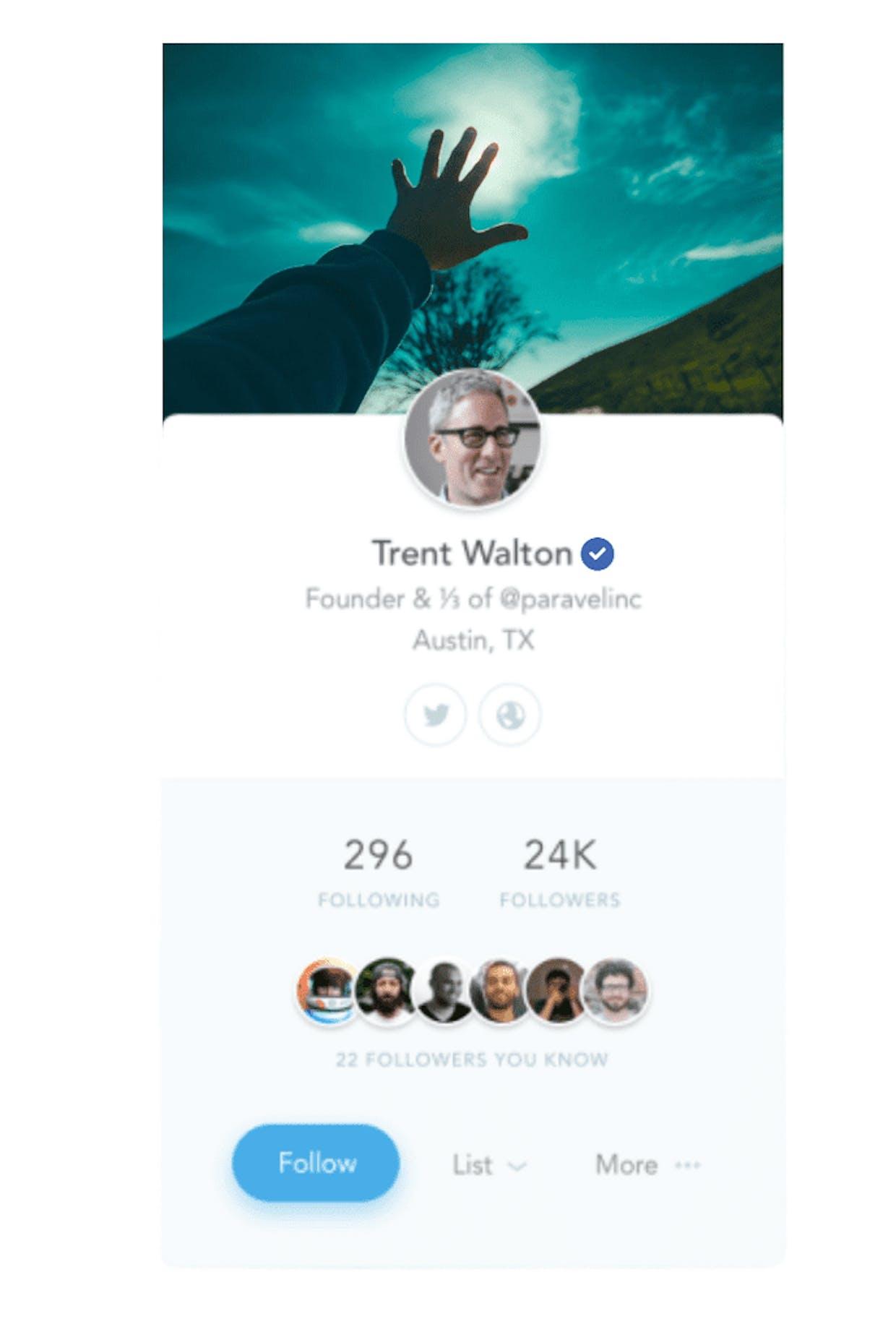 Example of clean ui user profile..
