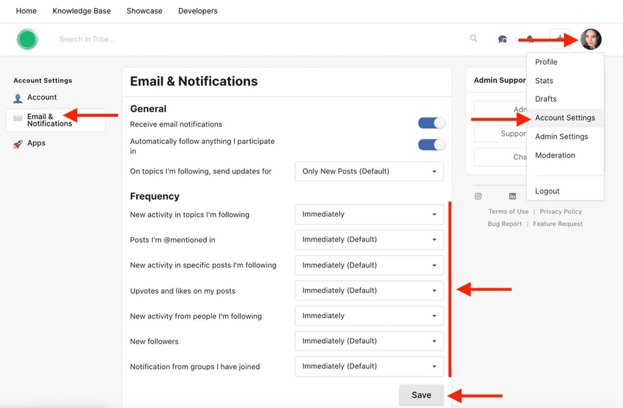 How to manage the frequency for the email notifications I receive from a community?
