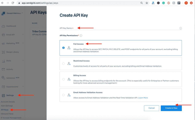 Create API Key with Full Access