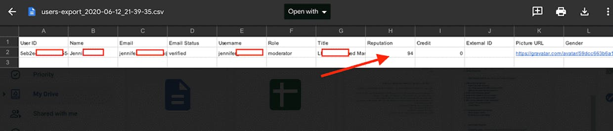 Can I pull a report of every members Reputation point total?