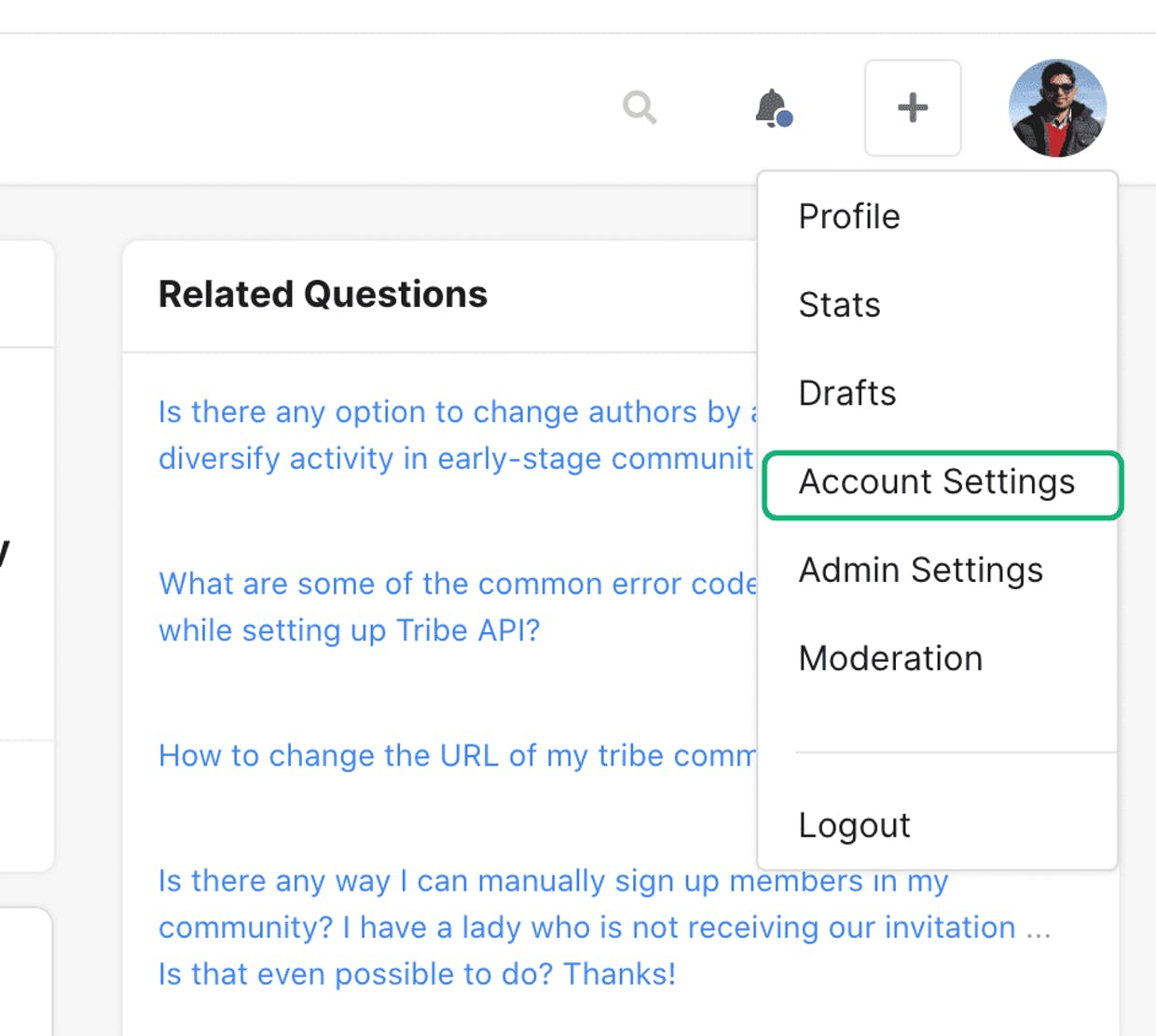 How can the Tribe community creator change his/her email address?  The community is newly created and has no activity yet except for admin set up.