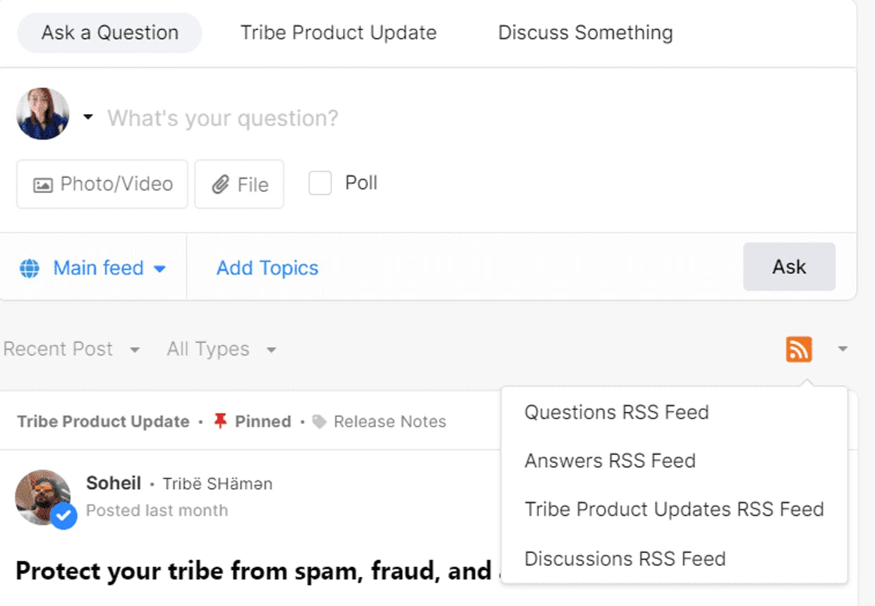 Do our communities automatically have an RSS feed link?