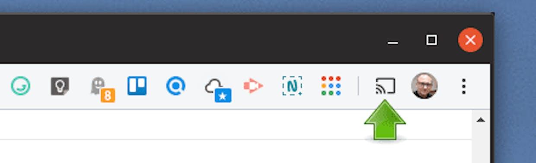 El icono de emisión, ya enclavado en la barra de Chrome.