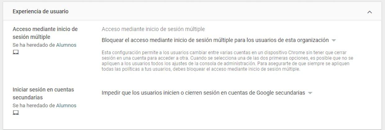 Si utilizas Chromebook asegúrate de tener esta configuración para evitar que en la misma sesión puedan estar utilizando dos cuentas.