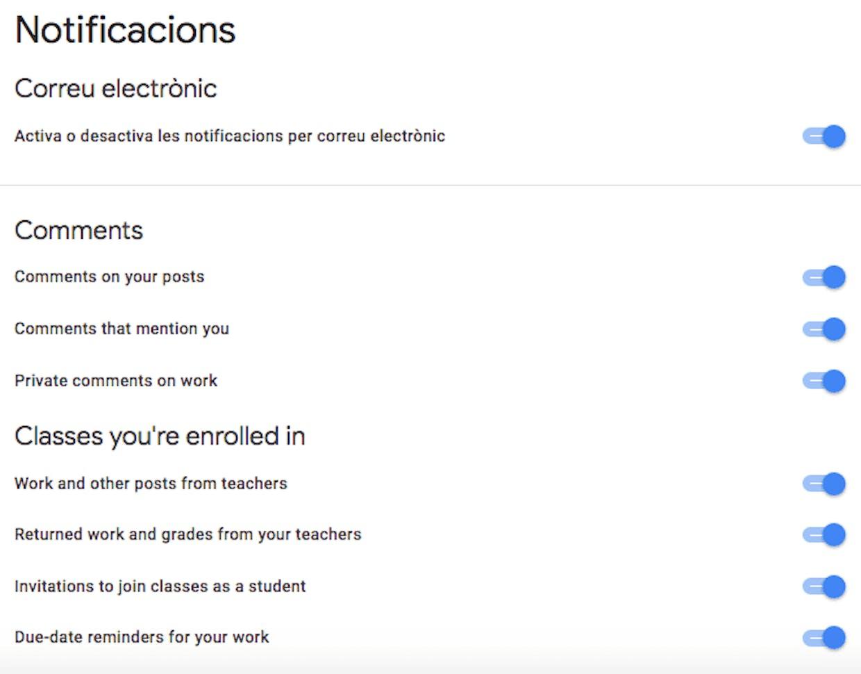 Algunos alumnos no reciben correos con notificaciones de classroom pese a tenerlas activadas.