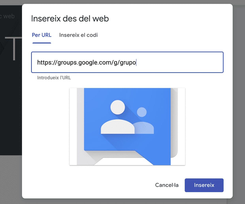 ¿Cómo puedo insertar/asociar grupos de Google con un Site?