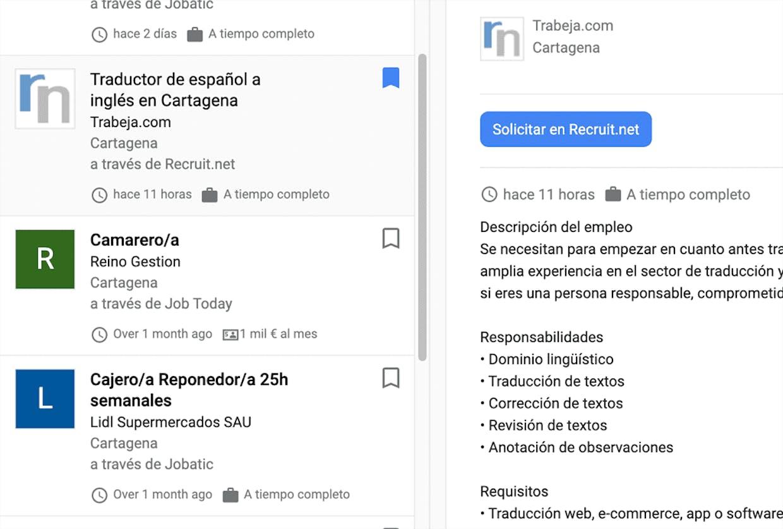 Buscando 'jobs Cartagena' aparecen ofertas de trabajo que puedes guardar en Favoritos.