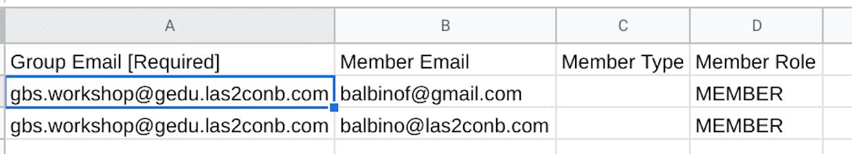 Un ratillo exportando/importando/exportando y copiando direcciones y listo... Puedes actualizar todos los grupos a partir de un mismo y único CSV...