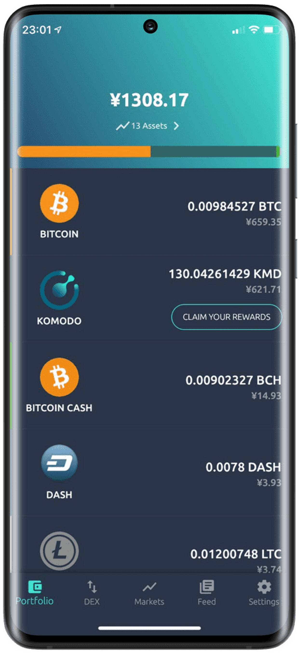Currency toggle: FIAT/ BTC / KMD (tap on portfolio value)