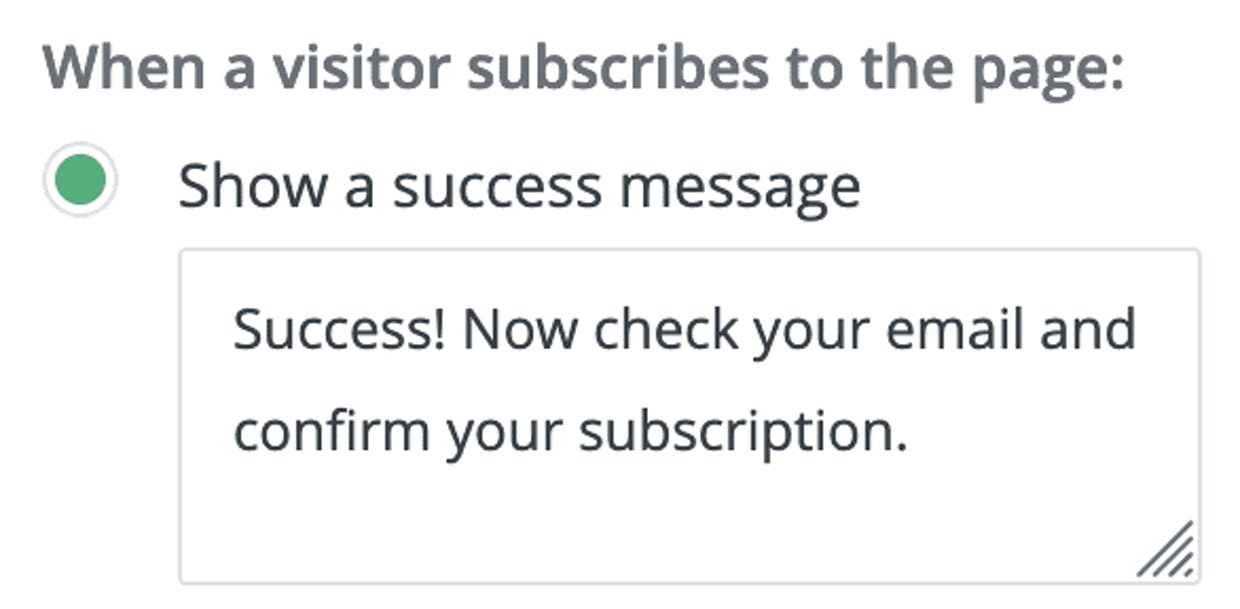 """Don't want the convertkit """"grow your own audience"""" thing to show up on form submission? Don't select this box."""