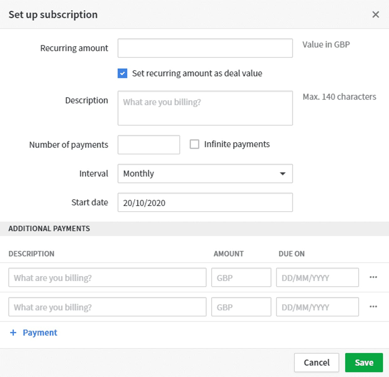1. Number of payments, Interval and Start date fields editable