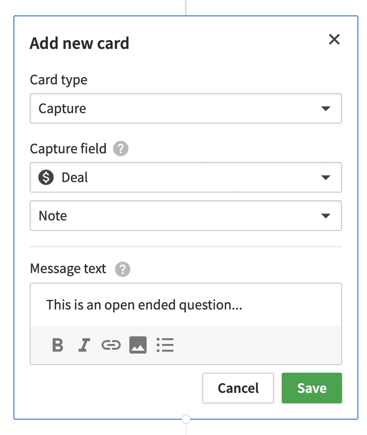 Is there a possibility to ask open ended questions to customers with the lead booster ?