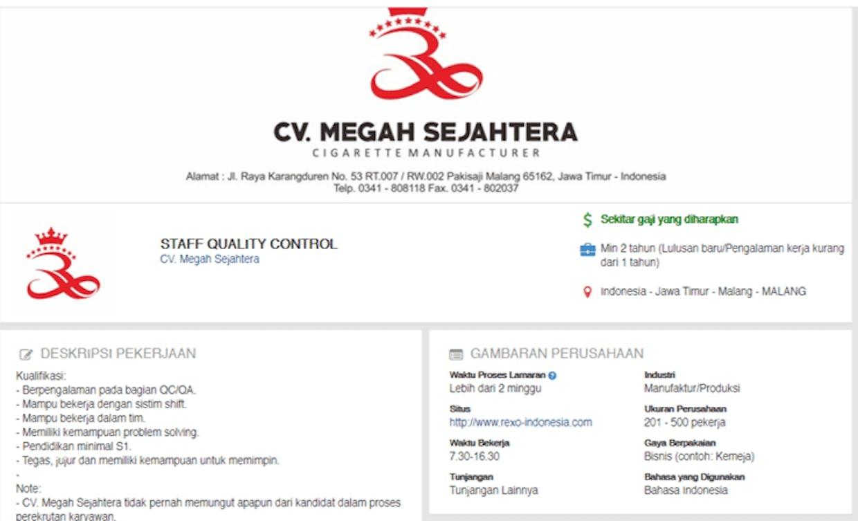 Loker Quality Control Cv Megah Sejahtera Lengkapnya Klik Https Www Jobstreet Co Id Id Job Staff Quality Control 3227965 Fr Start State Rec