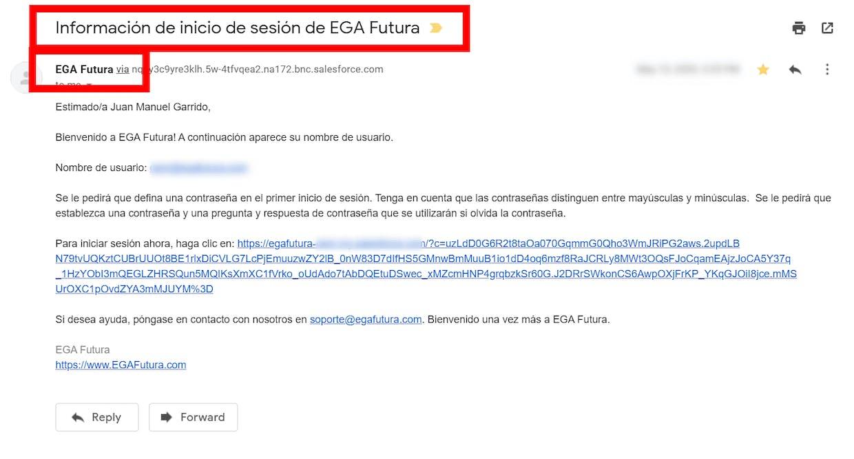 Correo electrónico de Inicio de sesión de EGA Futura