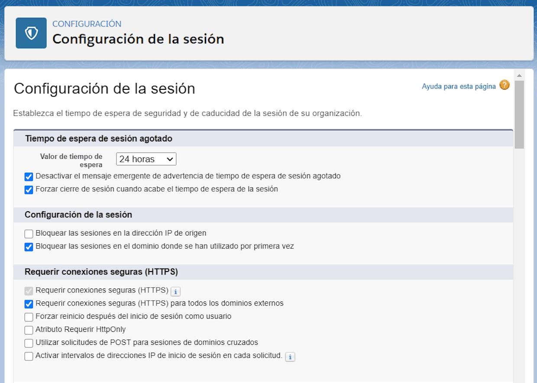 Opciones de configuración de Inicio de sesión en EGA Futura
