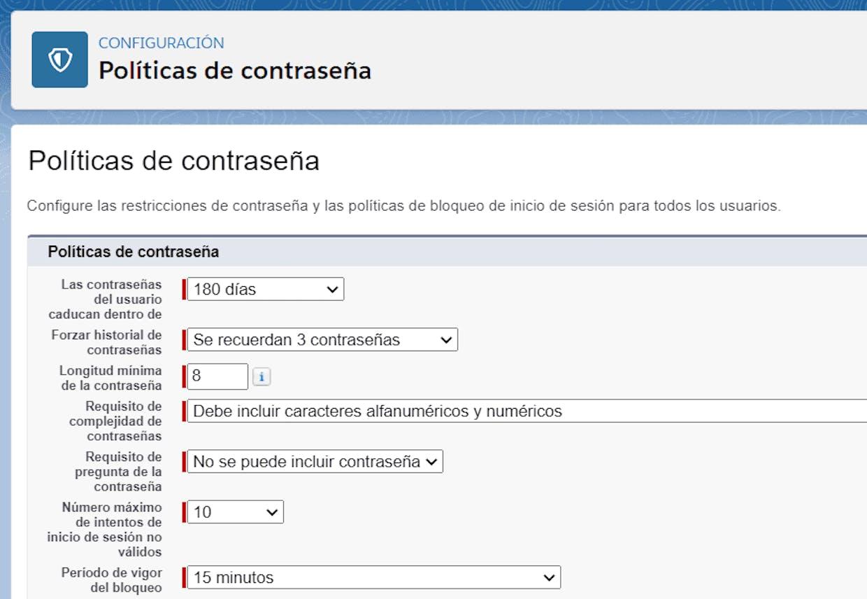 Estos valores pueden ser modificados por organización y por perfil de usuario
