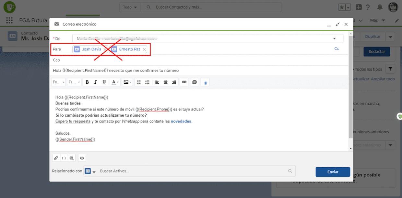 Por que cuando quiero enviar una plantilla de correo electrónico a más de un contacto no me reemplaza los campos?