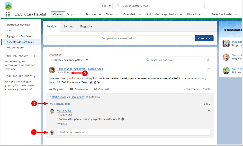 Que diferencia hay entre una publicación y un comentario de Chatter? Son los mismo?