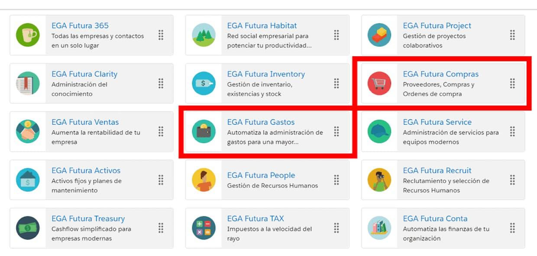 Aplicaciones principales de la Plataforma EGA Futura